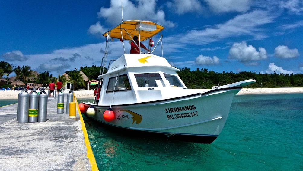 Scuba diving boat at the dock in Riviera Maya