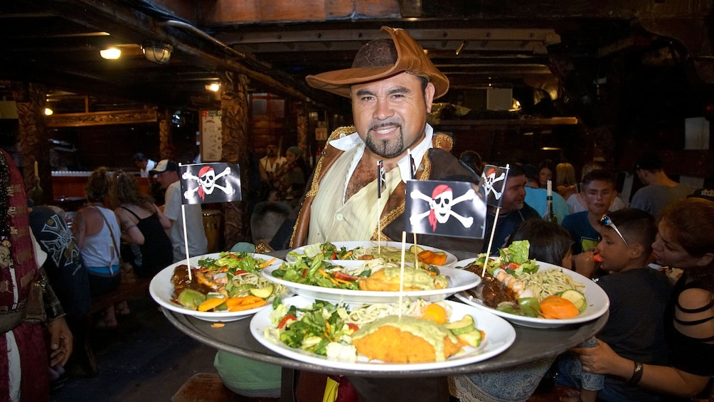 Cuisine being served in galley during Sunset Cruise in Puerto Vallarta