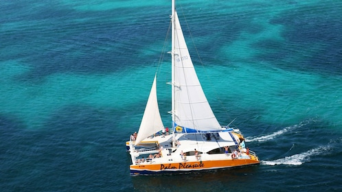 aerial view of boat on the water in aruba