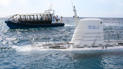Submarine surfaces in the waters off Aruba