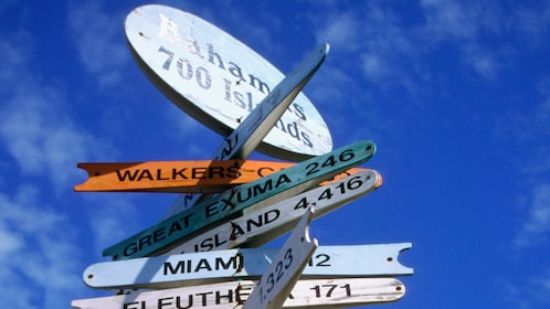Directional sign on sunny day in Bahamas