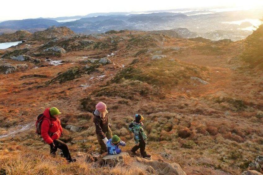 Show item 1 of 12. Bergen Classic. Hiking from Mount Ulriken to Mt Floyen. Vidden trail.