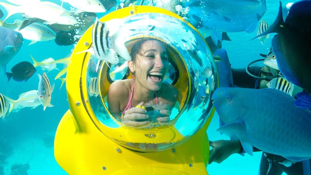 Show item 1 of 9. Girl in mini Sub diving apparatus in bahamas