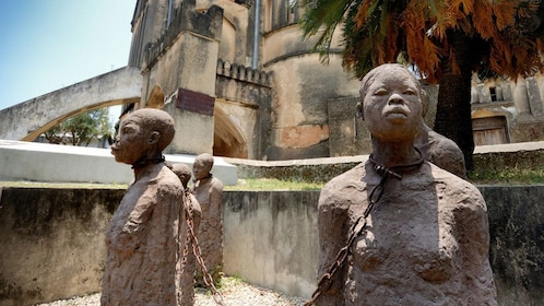 Sculptures at the historical Stone Town in Salaam