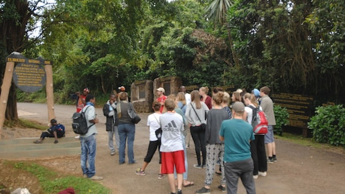 Tour group at the entrance to Mount Kilimanjaro National Park in Tanzania