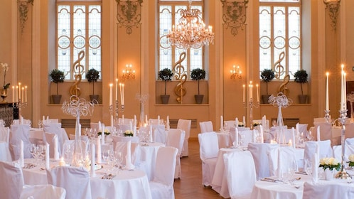 Dinning tables at the Mozart Dinner Concert in Salzburg