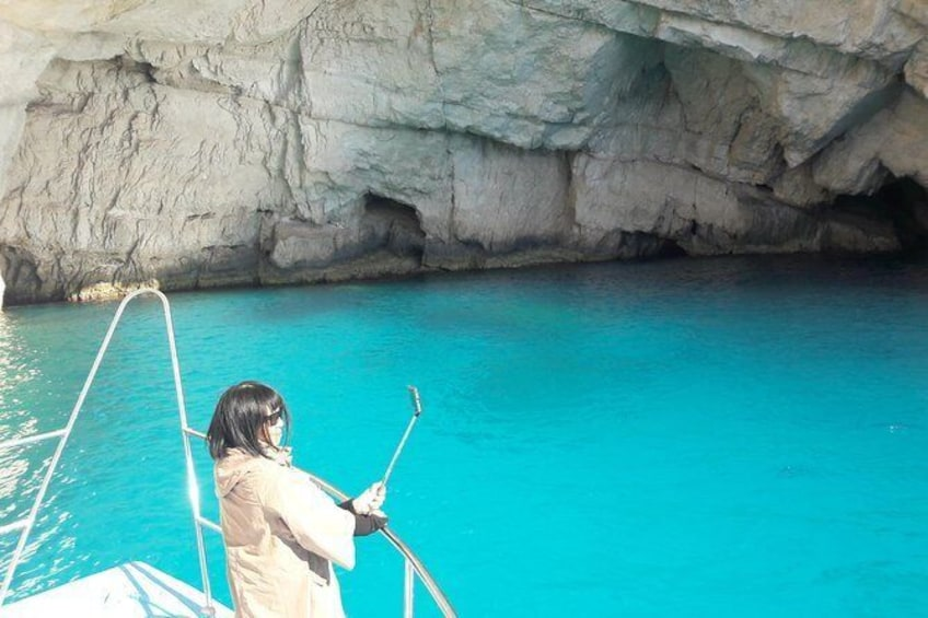 Show item 5 of 12. From St Nikolaos port: Boat cruise to navagio shipwreck beach and blue caves