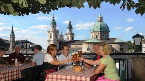 People enjoying beers outside in Salzburg