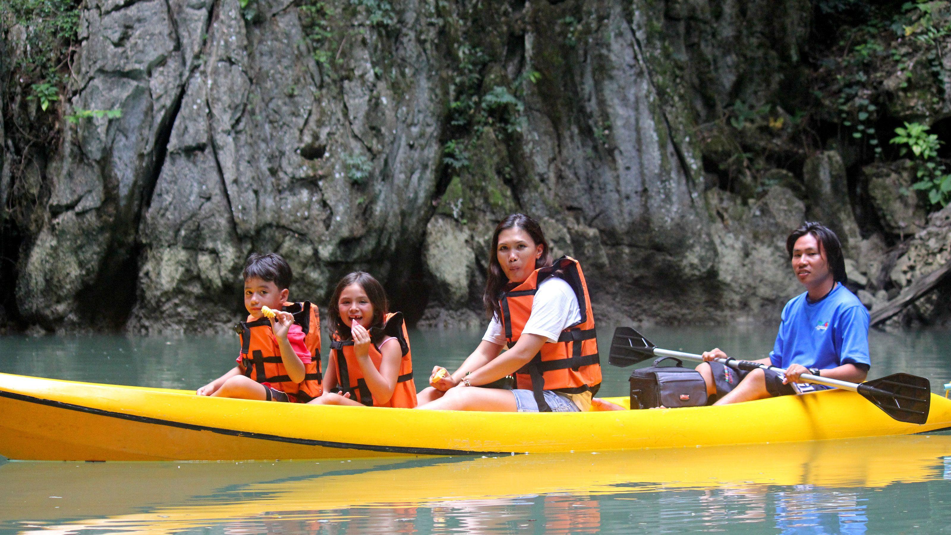 family kayaking in Phuket