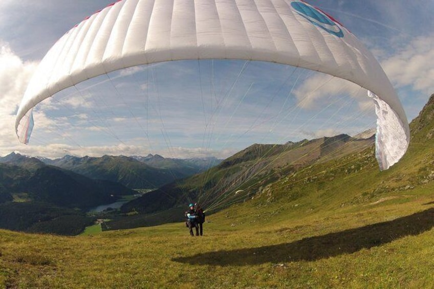 Show item 2 of 10. Davos absolutely free flying Paragliding Tandem Flight 1'000 meters high