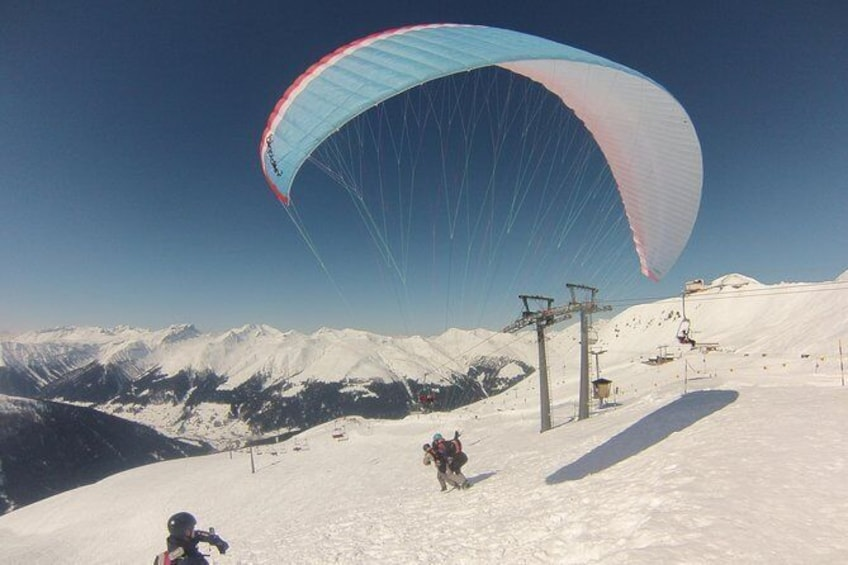 Show item 3 of 10. Davos absolutely free flying Paragliding Tandem Flight 1'000 meters high
