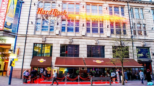 Front of hard rock cafe in Manchester