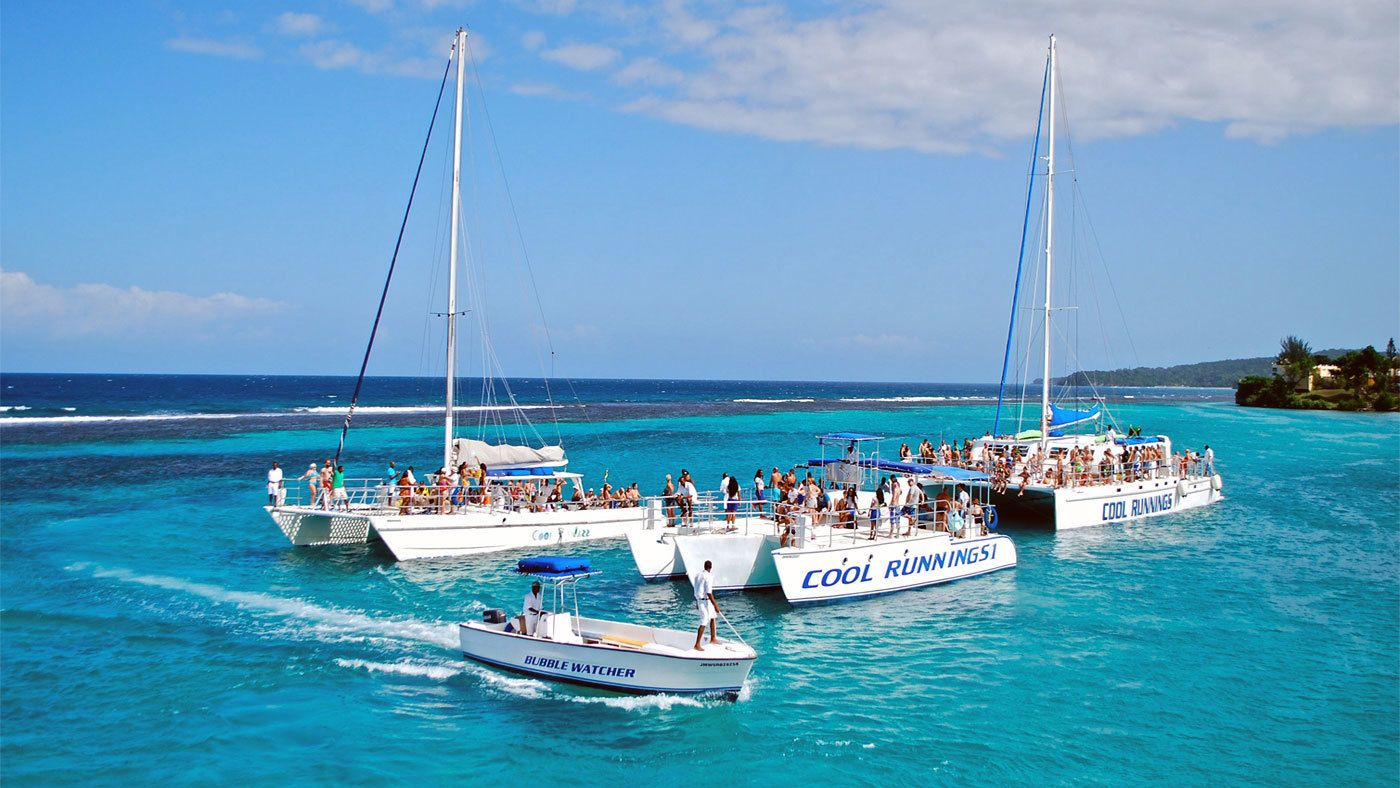 Cluster of catamaran sailboats in Jamaica