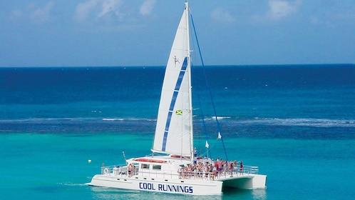 Sail boat on Caribbean sea near Jamaica