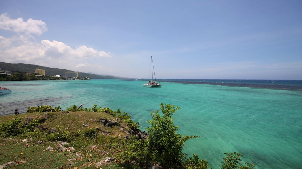 Sail boat seen from land in Jamaica