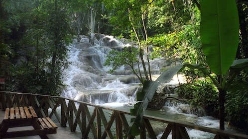 View of rocky waterfall from patio in Jamaica