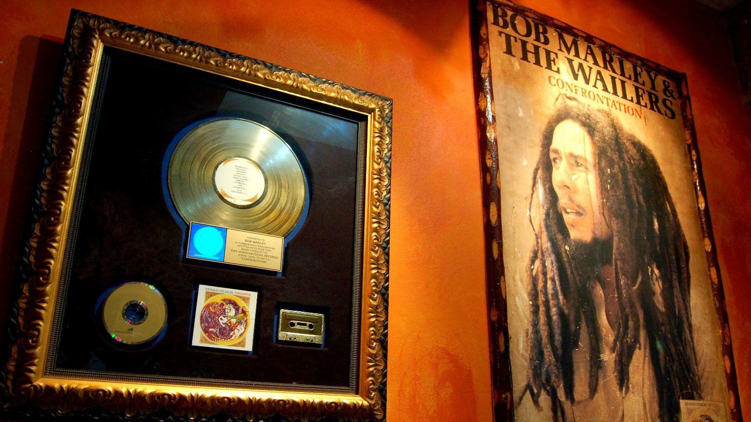 displays at the bob marley museum in Jamaica
