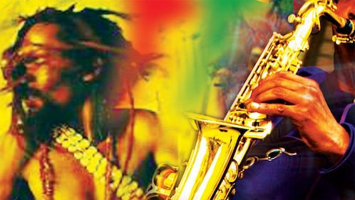 mural of saxophone player and man with dreadlocks in jamaica