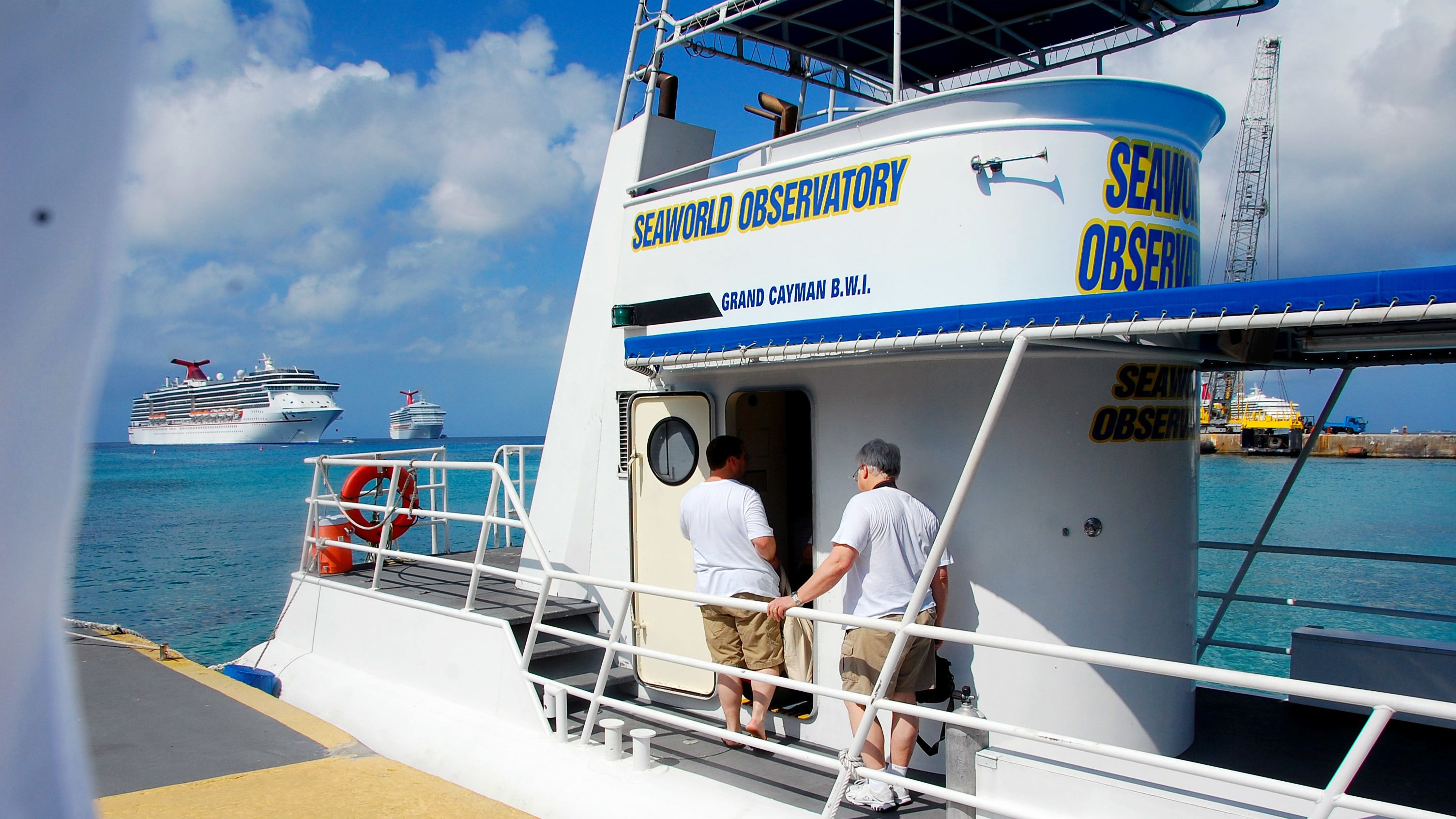Boarding the observatory in Grand Cayman