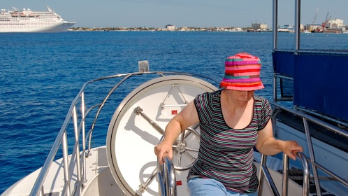 Exiting the surfaced submarine in Grand Cayman
