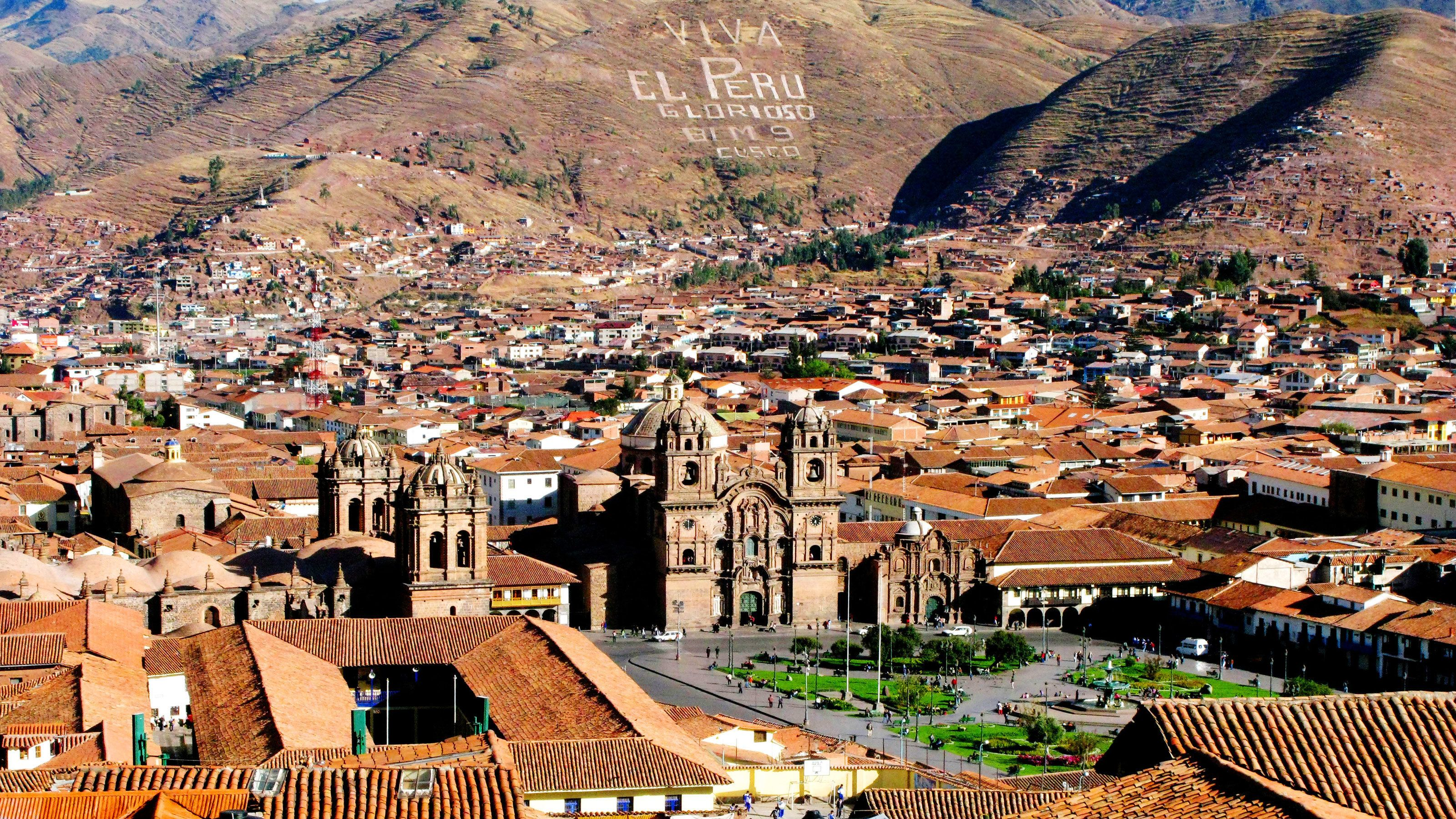 Panoramic view of the town of Cusco Peru