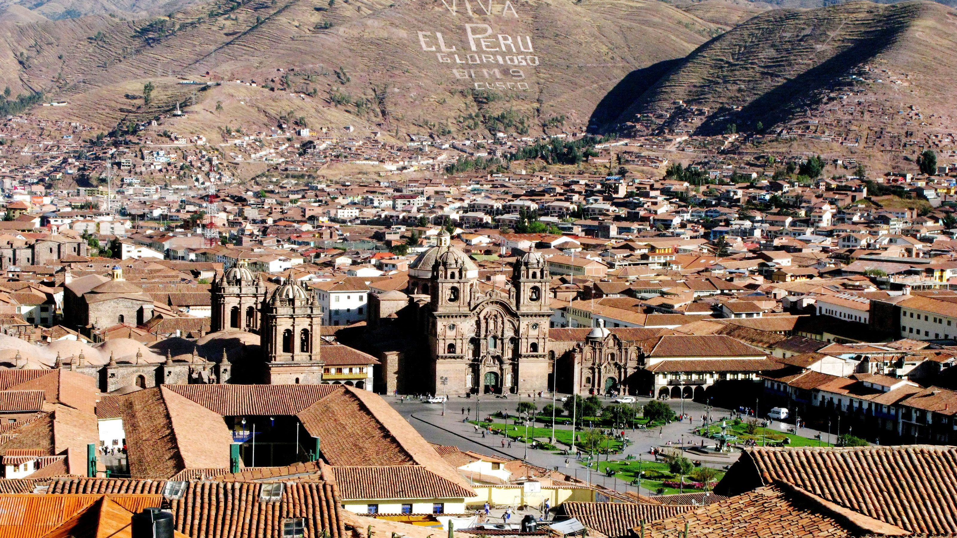 Looking east at the city of Cusco Peru