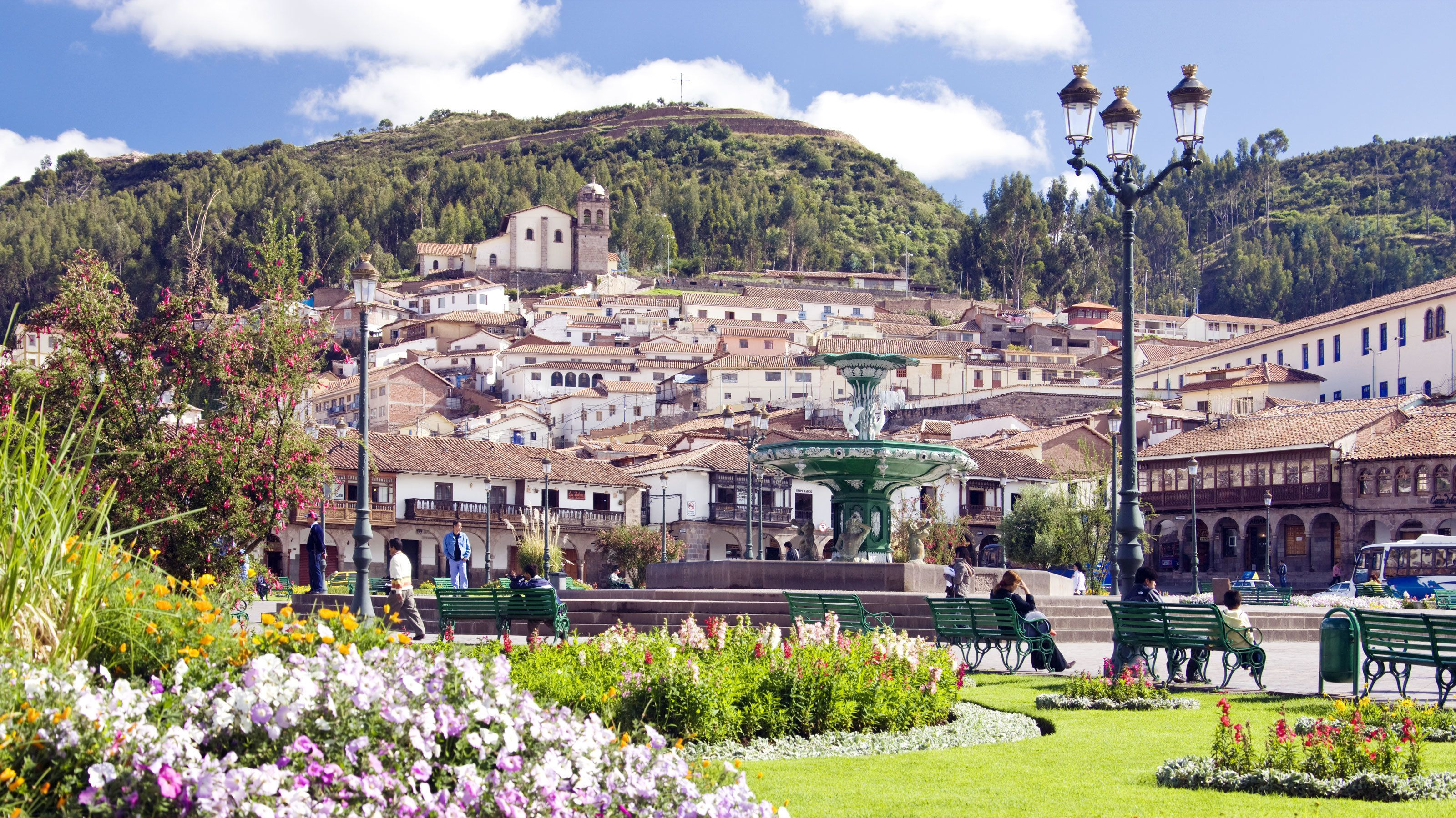 City Park in bright sunshine in the city of Cusco, Peru