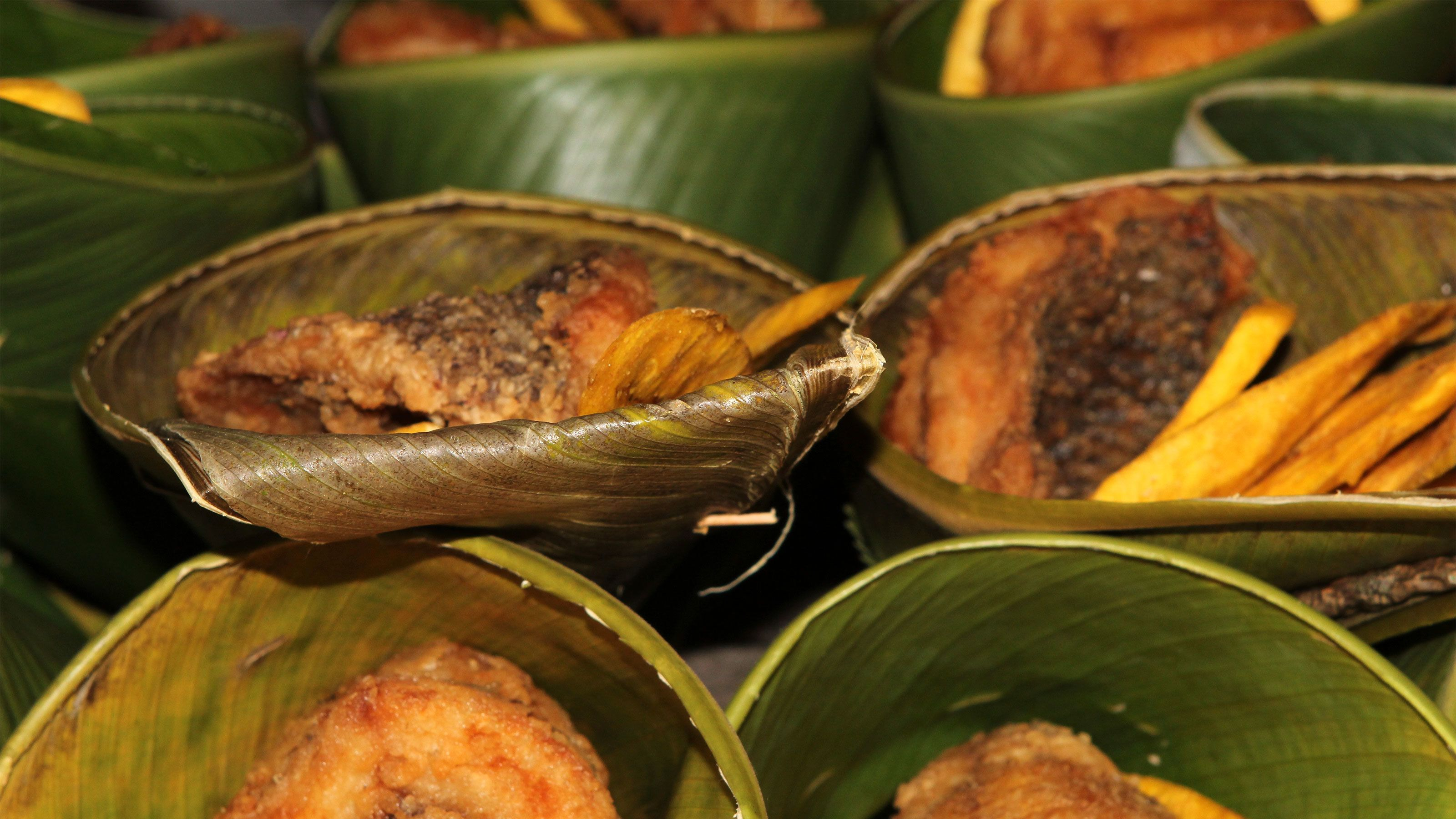 Food prepared in leaves in Panama