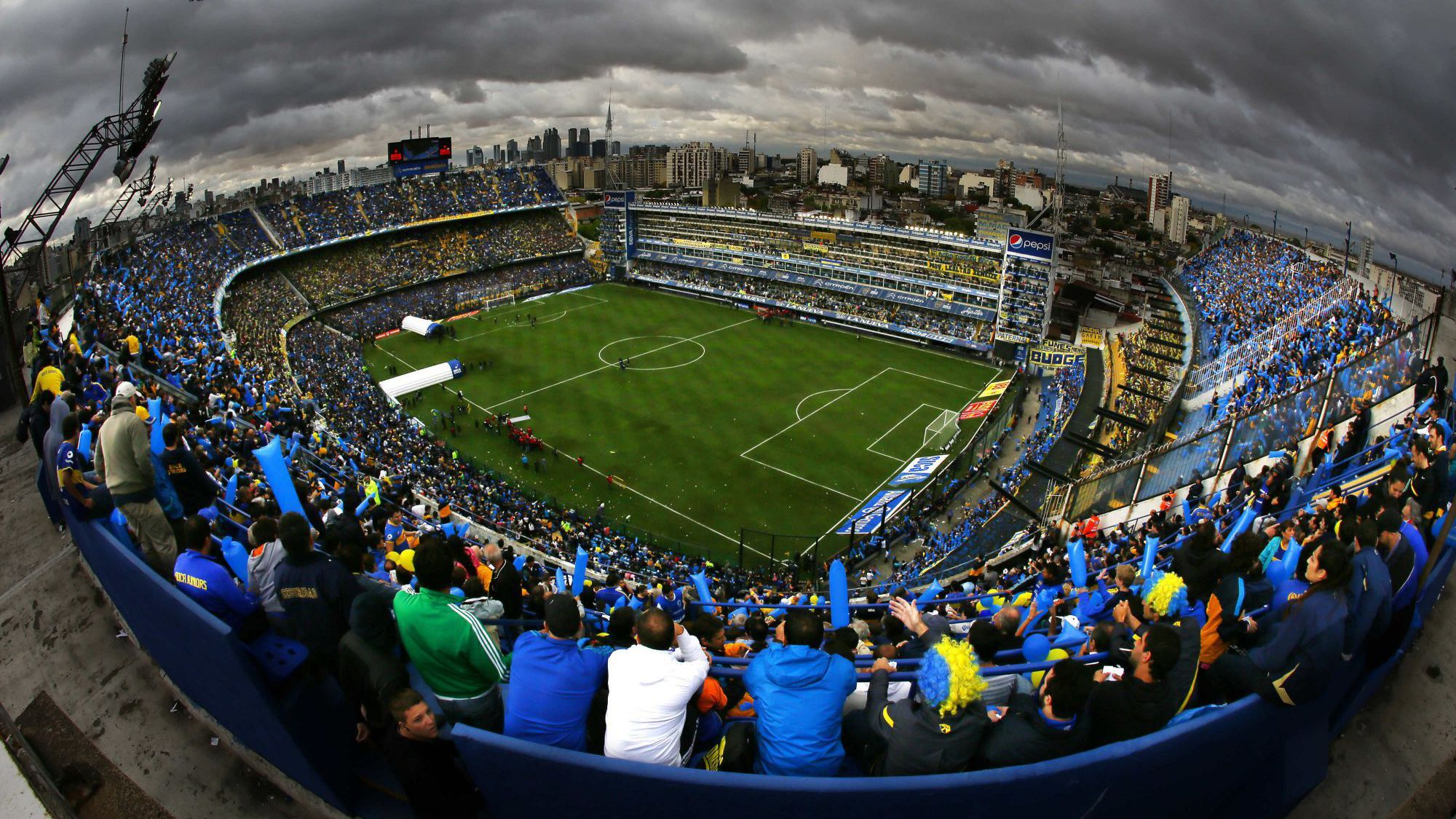 Aerial view of the fans in the stadium at a event at La Bombonera stadium in Buenos Aires