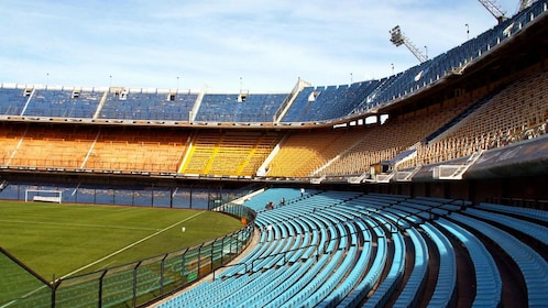 Interior view of the La Bombonera stadium in Buenos Aires
