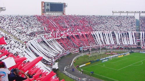 View of the stadium during an even at the La Bombonera stadium in Buenos Aires