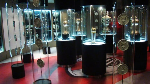 Display cases at La Bombonera stadium in Buenos Aires