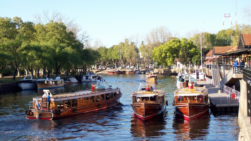 Boats floating on the river in Tigre