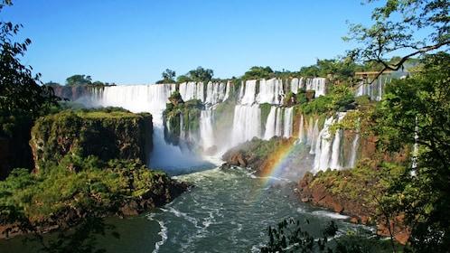 Rainbow forming at the waterfalls in Iguazu