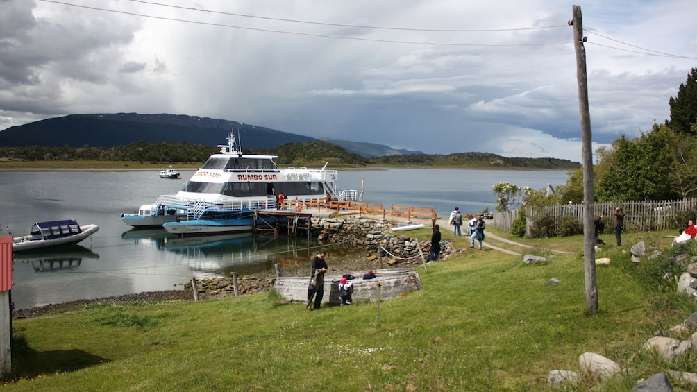 Board a catamaran to cross the Beagle Channel in Argentina