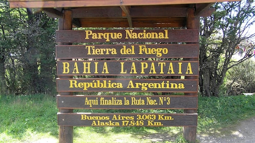 Info sign for Tierra del Fuego National Park of Argentina