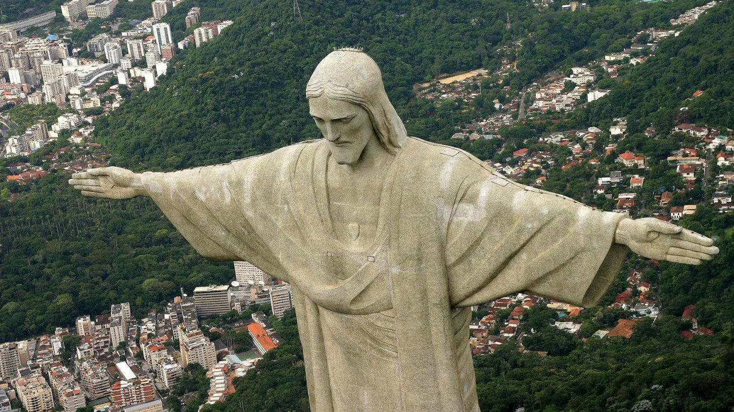 Christ the Redeemer statue from above in Rio de Janeiro