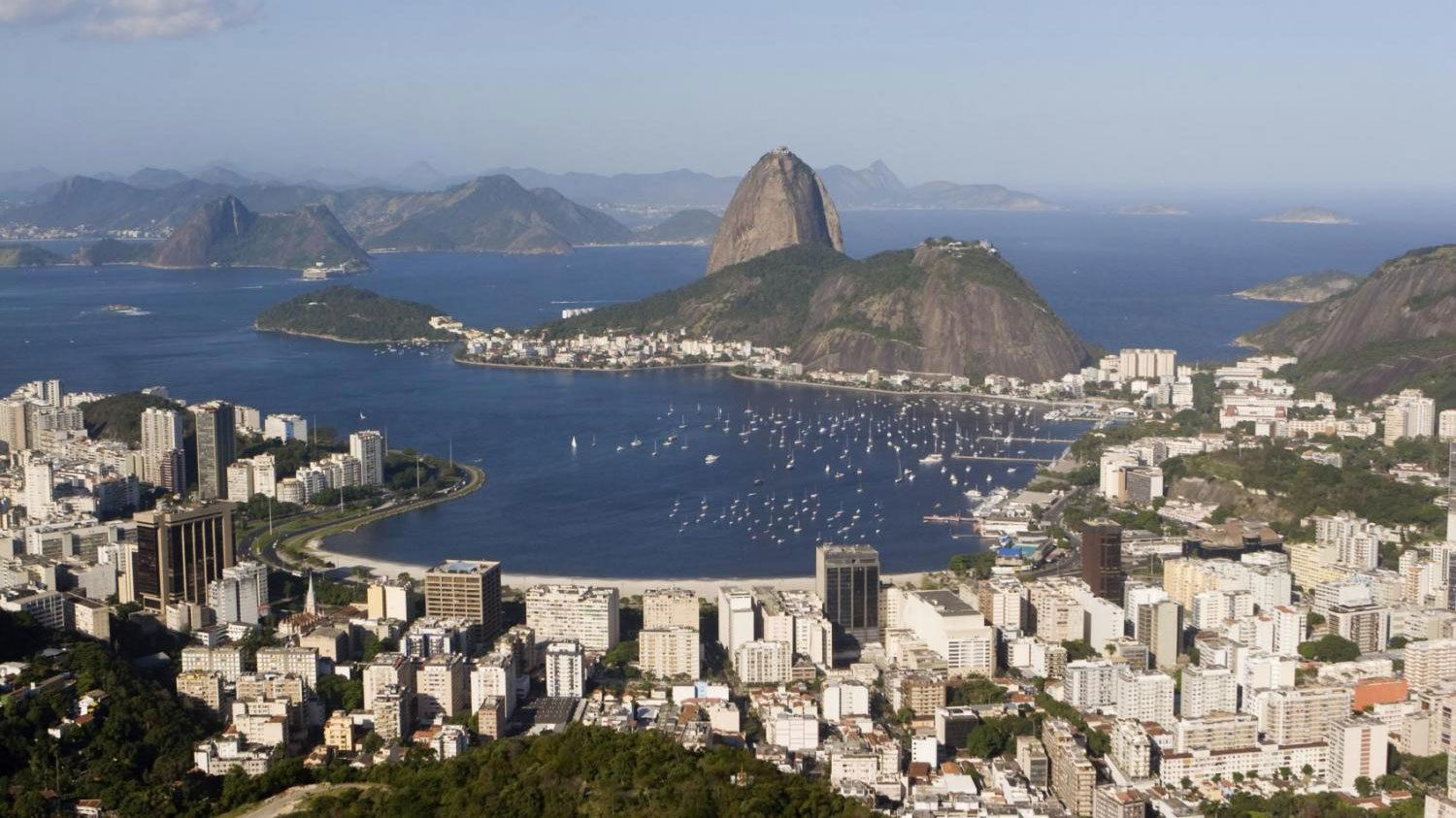 Panoramic view of Guanabara Bay and Sugarloaf Mountain in Rio de Janeiro