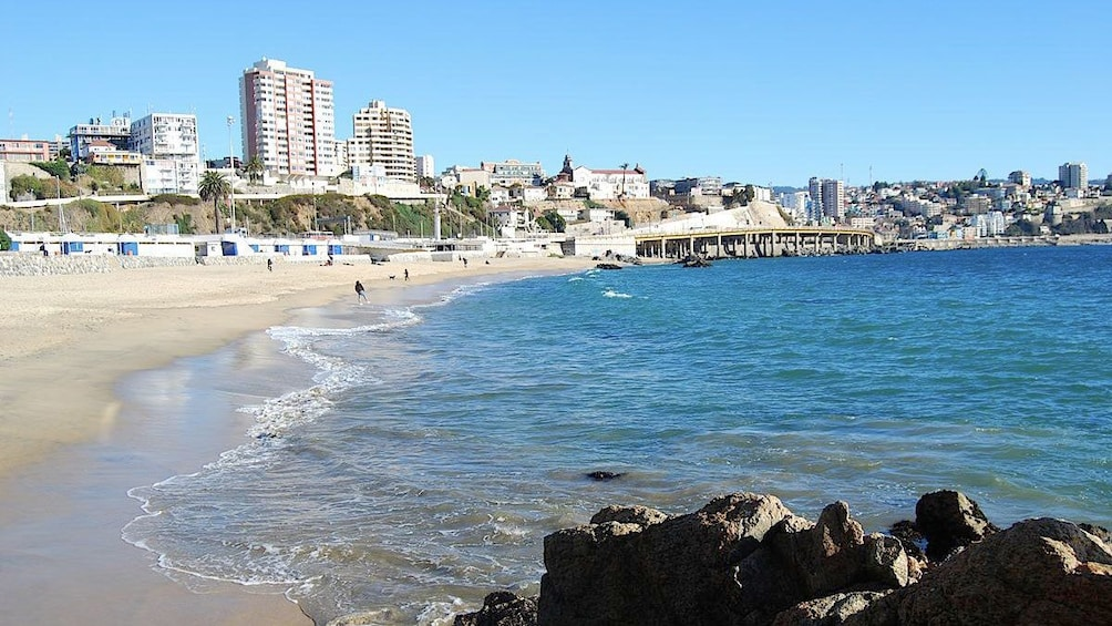 Beach with city behind in Vina del Mar