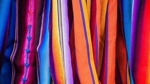 Colorful woven fabrics at the market in Guanacaste
