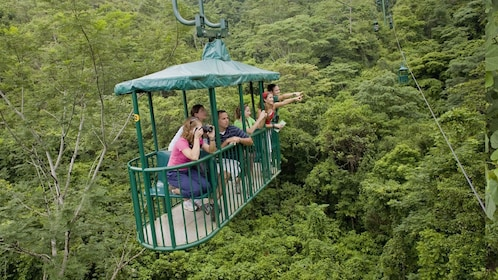 Aerial tram with passengers in the rainforest in Costa Rica
