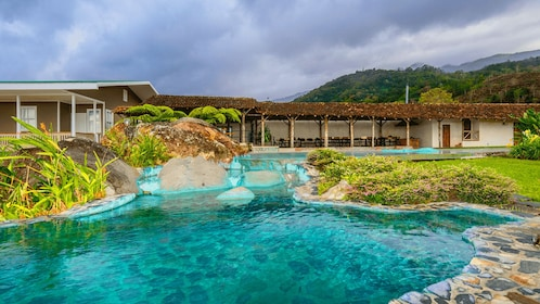 Blue pool at a Costa Rican resort