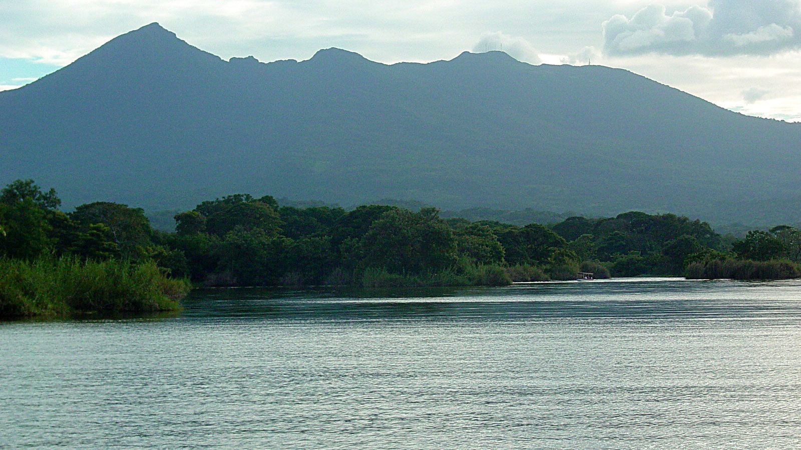 View over the river and volcano in background in Nicaragua