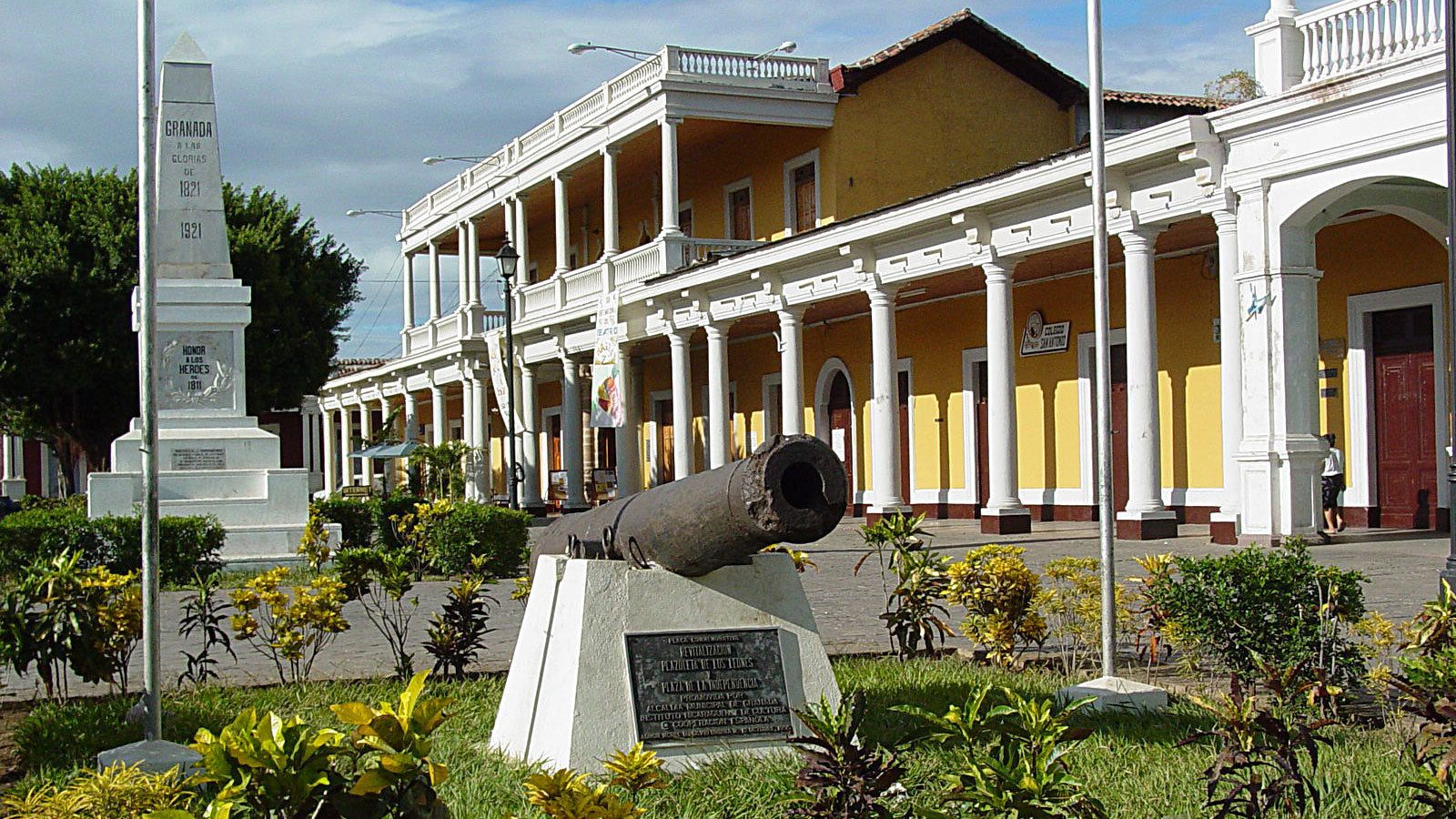 Colorful buildings at a historical site in Nicaragua