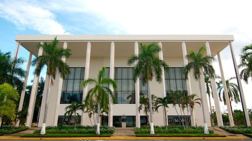Modern building in Managua surrounded by palm trees