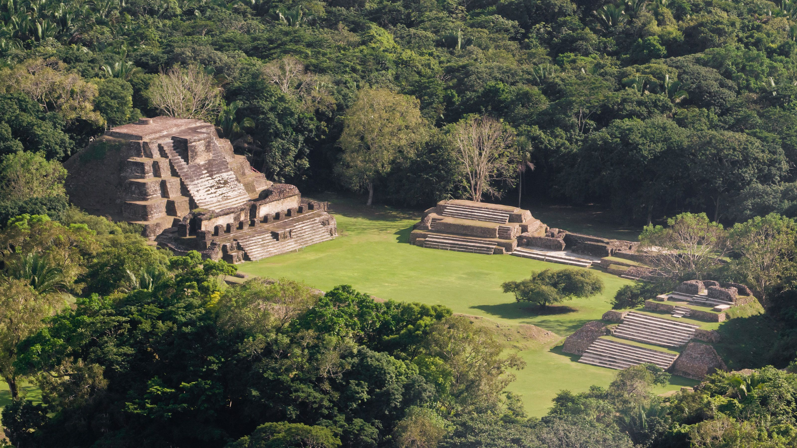Beautiful view of the Altun Ha Maya Site in Belize