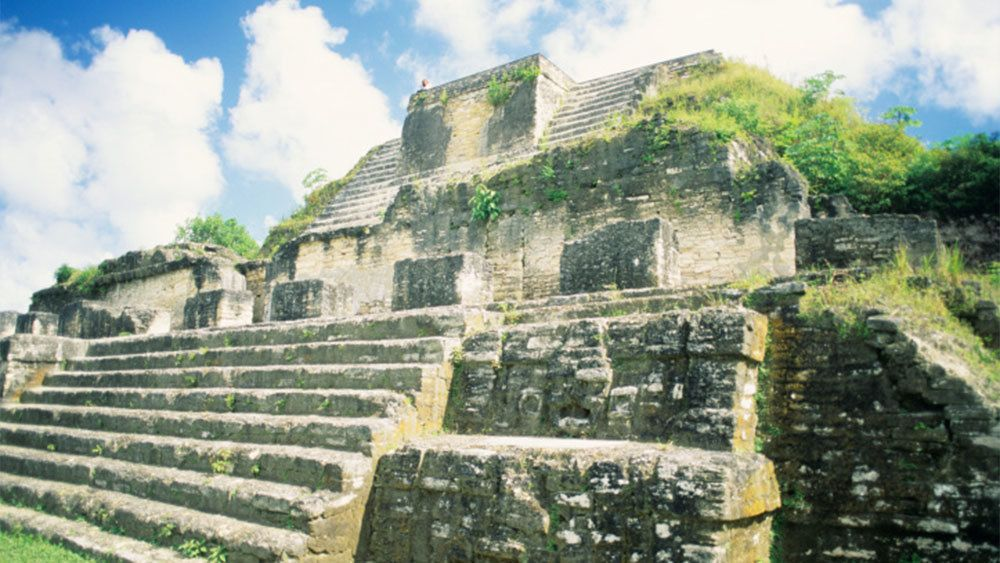 Close view of the Altun Ha Maya Site in Belize