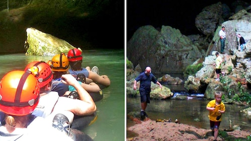 Combo image of cave tubing and jungle trek in Belize