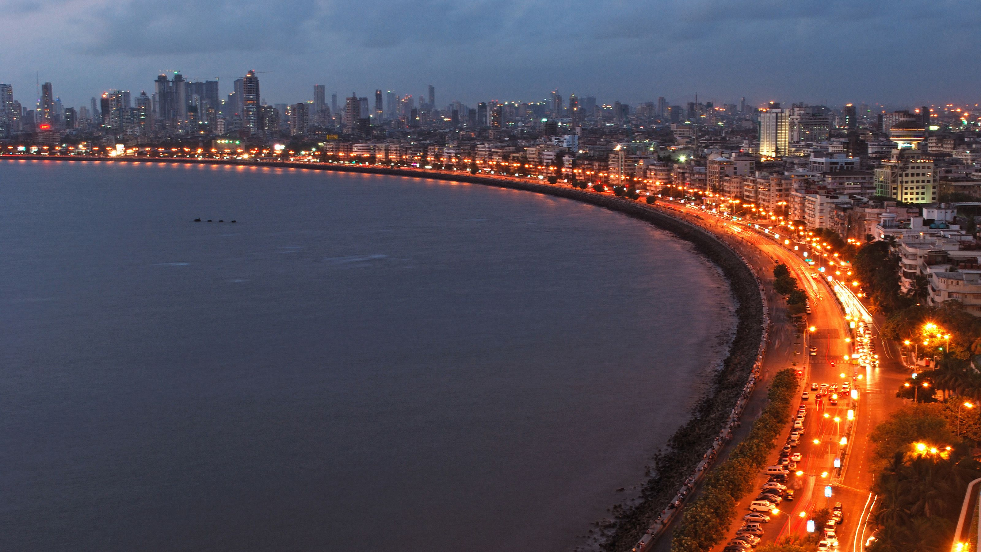 The coast of Mumbai illuminated at night