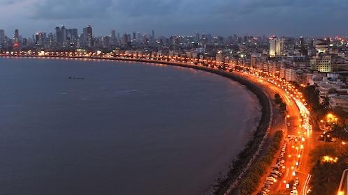 The coast of Mumbai illuminated at night